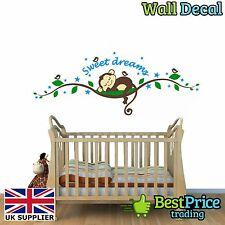 SWEET Dreams Sleeping Monkey Vinile Decalcomania Della Parete Casa Adesivo NURSERY KIDS Bedroom