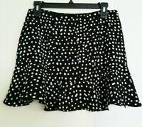 Banana Republic Flare Black White Skirt Petite S 2 P NWOT  Polka Dot Ruffle hem
