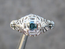 .20ct NATURAL BLUE DIAMOND RING w/ HAND CARVED FILIGREE ART DECO DETAILS Sz 6.75