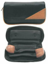 Black & Brown PU Leather Combination Tobacco Pouch Holds 2 Pipes - 9203