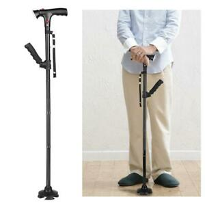 GripGuard  Self Standing Foldable Walking Stick With LED Lights