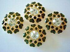 2 Hole Slider Beads Heart Flower Black Made With Swarovski Elements 4 Pieces