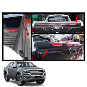 Tailgate Cap Cover Guard Black Red Trim 1Pc For Chevrolet Holden Colorado 2017 +