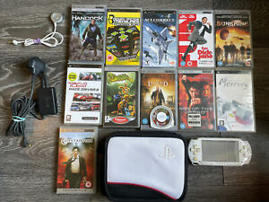 Sony PSP-1000 White Handheld w/ Games Bundle