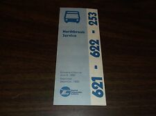 JUNE 1980 CHICAGO RTA ROUTE 621/622/253 NORTHBROOK BUS SCHEDULE