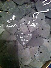 20 X 4cm Tiny Slate Hearts Wedding Favours/name Tags
