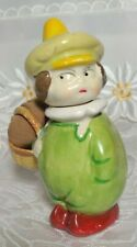 Boy with Basket Pin Needle Holder Porcelain Vintage Collectible Three Piece