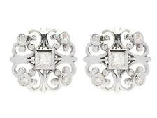E075 Genuine 9ct White Gold NATURAL Diamond 0.25ct Fleur-de-lis Stud Earrings