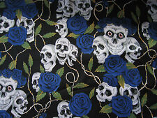 Skull & Roses Black & Blue Cotton Fabric Material Goth Halloween 80 cm REMNANT