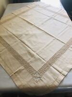 """Vintage Beige Linen Table Cloth Intricate Cutwork Edges 42"""" x 42.5"""" Tablecloth"""