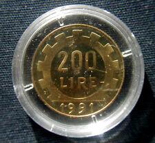1991 Italy coin 200 lire  Lavoro UNC PROOF in closed box