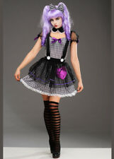 Womens Halloween Gothic Doll Sexy Fancy Dress Aduly Costume Black White Purple