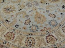 6x6  Round Area RUG Peshawar Blue Gold Beige Rust wool hand-knotted