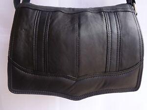 Soft Leather Flapover Shoulder Bag Organisers with Adjustable Strap Black