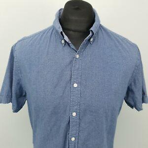 Tommy Hilfiger Mens Shirt LINEN Blend SMALL BLue Regular Dotted Cotton Linen