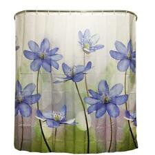 Polyester Shower Curtain Purple Blue Big Flower Bathroom Curtain Waterproof