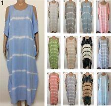 LADIES casual Longer Dress Keyhole Sleeve OSFA Plus Larger Size 20 22 24 26