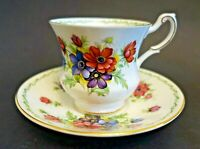 LLRR14 CUP & SAUCER Rosina China ANEMONE Queens Special flowers