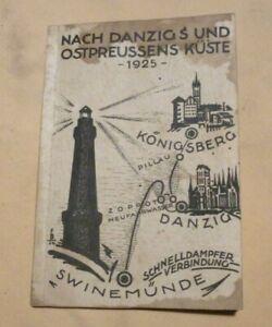 """Altes Buch Reise Hand-und Fahrplan Buch """"Ostpreussen"""" Danzig Swinemünde von 1925"""