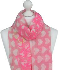 Women Pink Love Heart Scarf Ladies Hearts Print Scarves Spring Summer Gifts Wrap