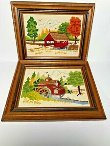 Set of 2VTG Wall Hanging Complete Crewel Embroidery Art Framed Water Mill Bridge