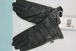 Leather Gloves Small 7 Black with Silver Buckle  All polyester Black lining NWT