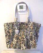 B MAKOWSKY FAUX FUR & SILVER LEATHER TOTE BAG PURSE LEOPARD PRINT