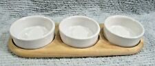 3 Heavy White Porcelain Stoneware Pottery Serving Dishes on Wood Tray FREE S/H