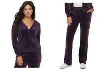 NWT Juicy Couture SOFT Velour Tracksuit Jacket Bootcut Pants PURPLE Gym  XSmall