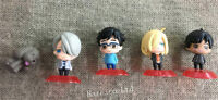 5pcs/Set Anime Yuri!!! on Ice Victor Plisetsky PVC Figure Model 3-4cm