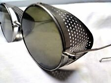 VTG STEAMPUNK SUNGLASSES GAULTIER WILLSON green lens perforated metal shields