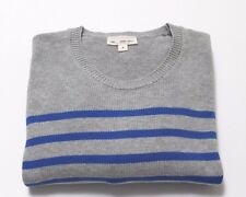 Gap Sweater Mens M Heather Gray Blue Striped Crew Pullover Long Sleeve Cotton