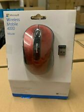 New Microsoft Wireless Mobile 4000 Optical Mouse w/Nano Transceiver Ruby Red