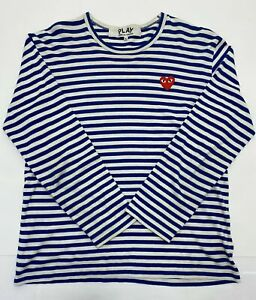 Comme Des Garcons PLAY Blue Striped Long Sleeve [Sz XL] (Pre-Owned)