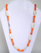 "White and orange shell bead necklace silver plated clasp Approx. 22"" or 56cm"