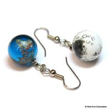 "15mm (0.5"") Planet Earth and Moon Glass Marble Earrings - Space Jewellery Gift"