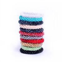 Multi-color rondelle crystal Porcelain beads handmad strand bracelet