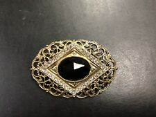 VTG Fancy Black Gold Rhinestone Flower Art Deco Retro Pin Brooch Scarf Purse