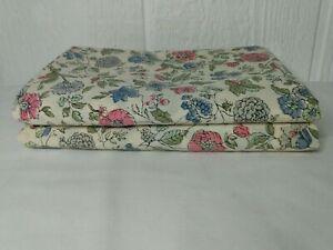 2 Vtg Standard Pillowcases Tastemaker Blue Pink Multicolor Floral USA Muslin
