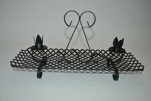 Vintage Black Metal Flower 2 Candle Holder Tray Holiday Centerpiece Table