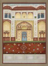 Mughal Miniature Painting Of Royal Islamic Palace Handmade Artwork On Paper