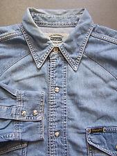 Wrangler Western Denim Shirt Men's Large XL Extra Blue Pearl Snaps Vtg # LSHZ223