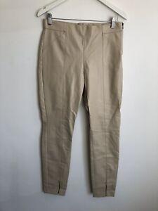 Zara Cream Faux Leather PVC Trousers High Waisted Size L 12 Zip Hem Skinny