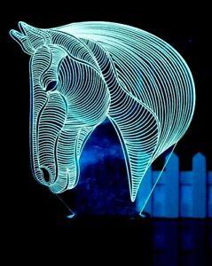 EmotiGlow™ LED Table Night Light Horse Head, 7 Colors Lamp, incl. USB Cable