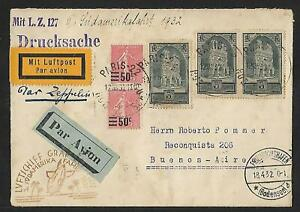 ZEPPELIN FRANCE TO ARGENTINA 3 SAF AIR MAIL COVER 1932