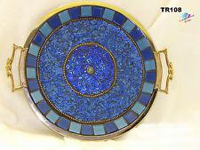 Blue Mosaic Tray Handmade Mosaic Silver Tray Make a  Beautiful Gift TR108