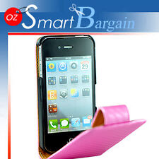 Carbon Fibre PINK Flip Leather Case Cover For iPhone 4G 4GS + Screen Protector
