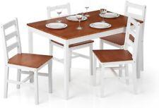 Set Tavolo da pranzo moderno da cucina in legno di pino di iKayaa 5PCS e 4 sedie