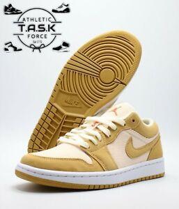 💯 Nike Air Jordan 1 Low SE Corduroy Suede Tan DH7820-700 Women's Sz 10.5