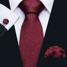 USA Hot Silk Men's Tie Burgundy Red Paisley Jacquard Woven Wedding Necktie Party